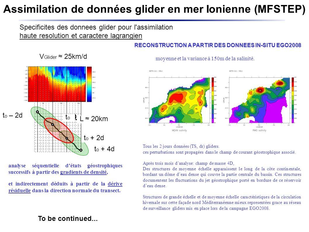 Assimilation de données glider en mer Ionienne (MFSTEP) Specificites des donnees glider pour l assimilation haute resolution et caractere lagrangien Tous les 2 jours données (TS, dr) gliders.