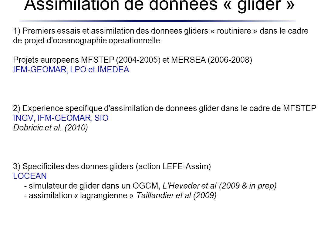 Assimilation de données « glider » 1) Premiers essais et assimilation des donnees gliders « routiniere » dans le cadre de projet d oceanographie operationnelle: Projets europeens MFSTEP (2004-2005) et MERSEA (2006-2008) IFM-GEOMAR, LPO et IMEDEA 2) Experience specifique d assimilation de donnees glider dans le cadre de MFSTEP INGV, IFM-GEOMAR, SIO Dobricic et al.