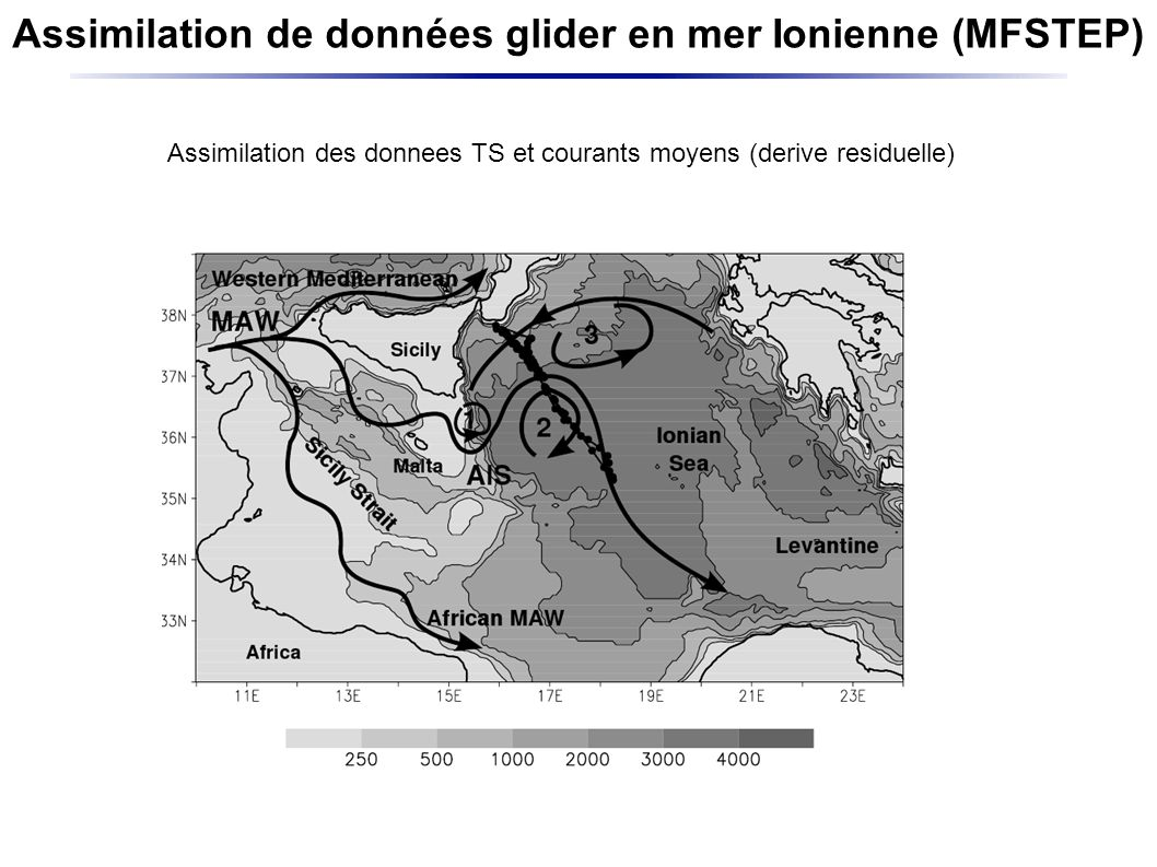 Assimilation de données glider en mer Ionienne (MFSTEP) Daily averaged vertical profiles along the path of the glider for the period October-December 2004.