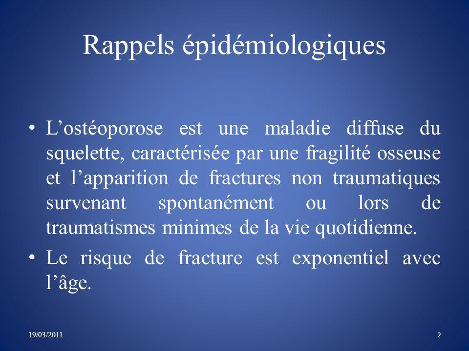 Rôle fondamental de la carence oestrogénique 19/03/2011 Masse osseuse diminuée et perforation des travées osseuses.