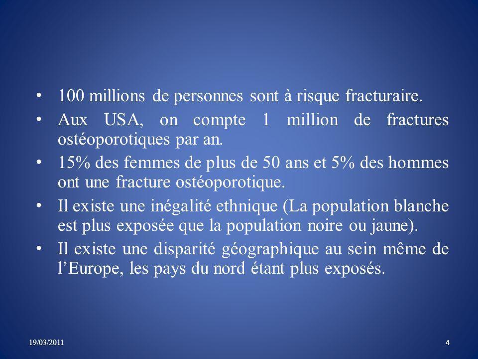 Le nombre de fractures vertébrales ostéoporotiques en France est de 50000 à 70000 par an.