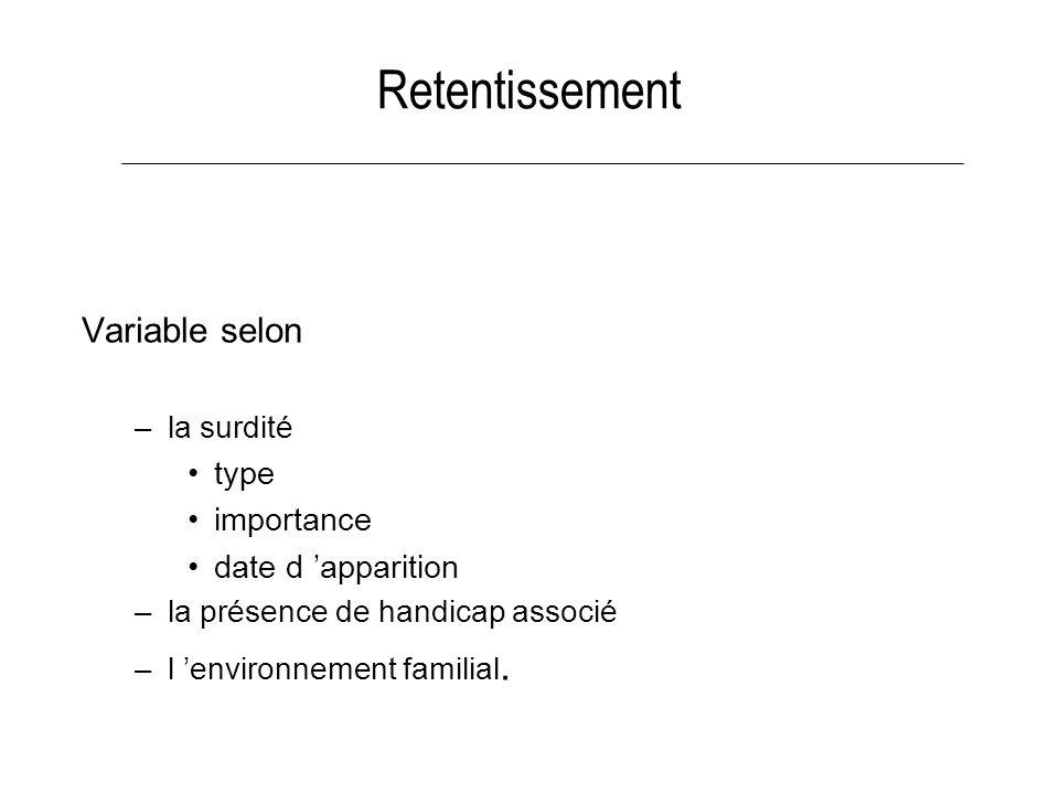 Retentissement Variable selon –la surdité type importance date d apparition –la présence de handicap associé –l environnement familial.