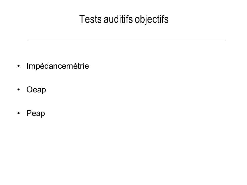 Tests auditifs objectifs Impédancemétrie Oeap Peap