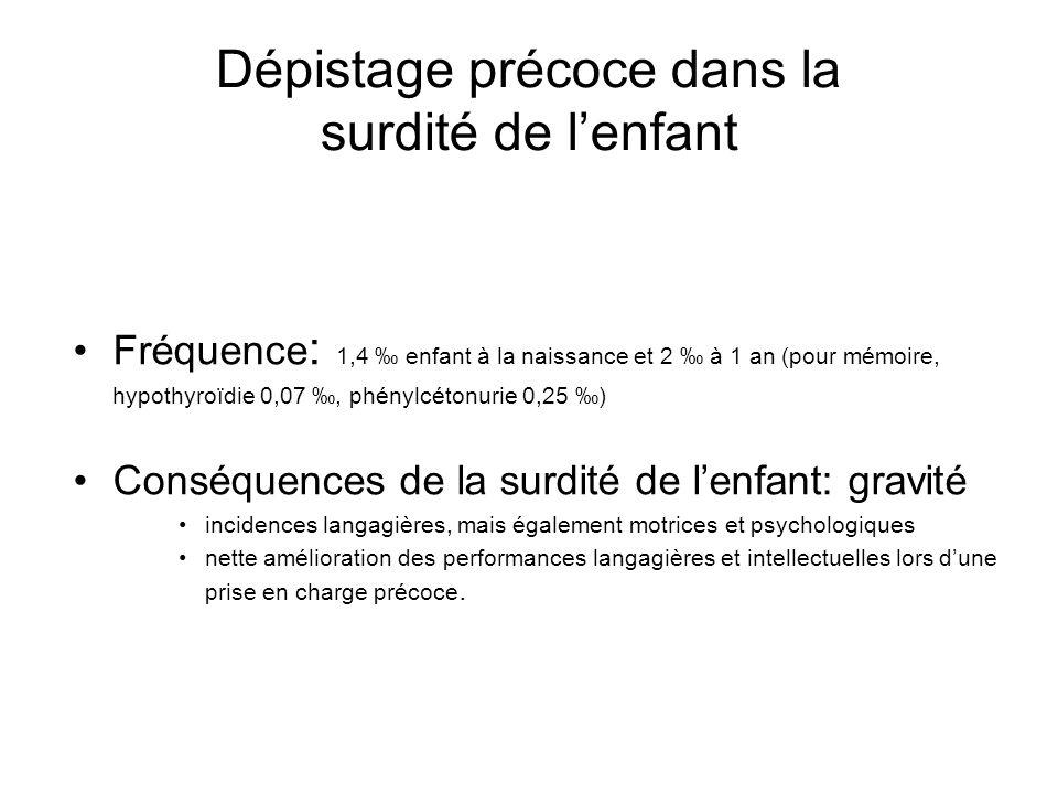 Dépistage précoce dans la surdité de lenfant Fréquence : 1,4 enfant à la naissance et 2 à 1 an (pour mémoire, hypothyroïdie 0,07, phénylcétonurie 0,25