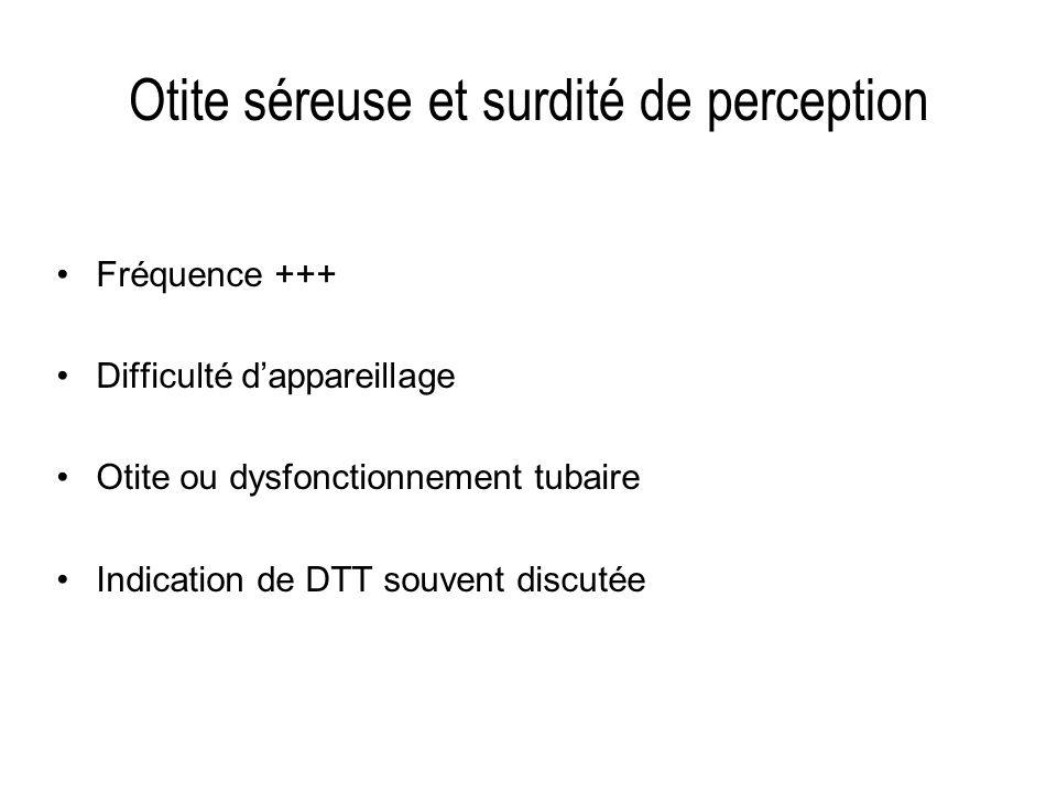Otite séreuse et surdité de perception Fréquence +++ Difficulté dappareillage Otite ou dysfonctionnement tubaire Indication de DTT souvent discutée
