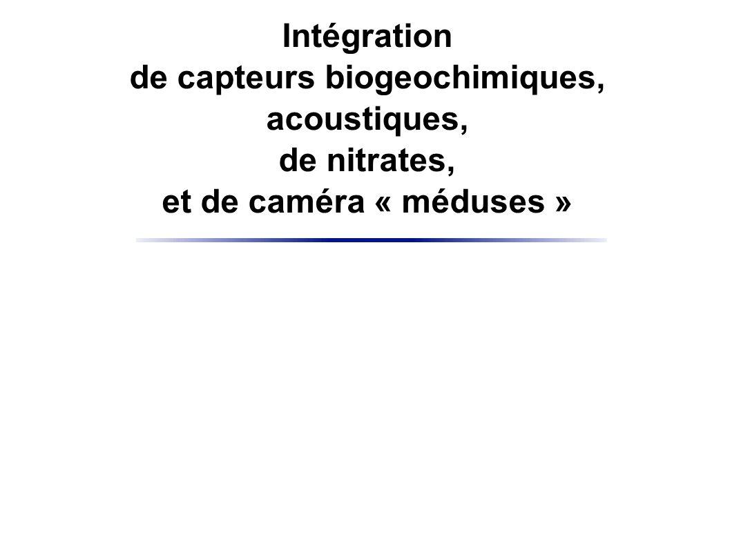 Intégration de capteurs biogeochimiques, acoustiques, de nitrates, et de caméra « méduses »