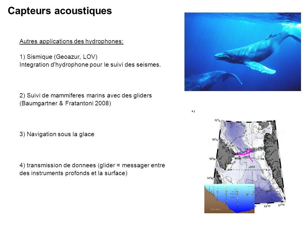 Autres applications des hydrophones: 1) Sismique (Geoazur, LOV) Integration d hydrophone pour le suivi des seismes.