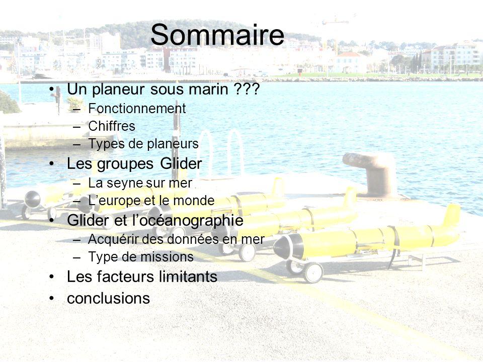 Laurent Beguery | Insu – La Seyne sur mer Sommaire Un planeur sous marin ??? –Fonctionnement –Chiffres –Types de planeurs Les groupes Glider –La seyne