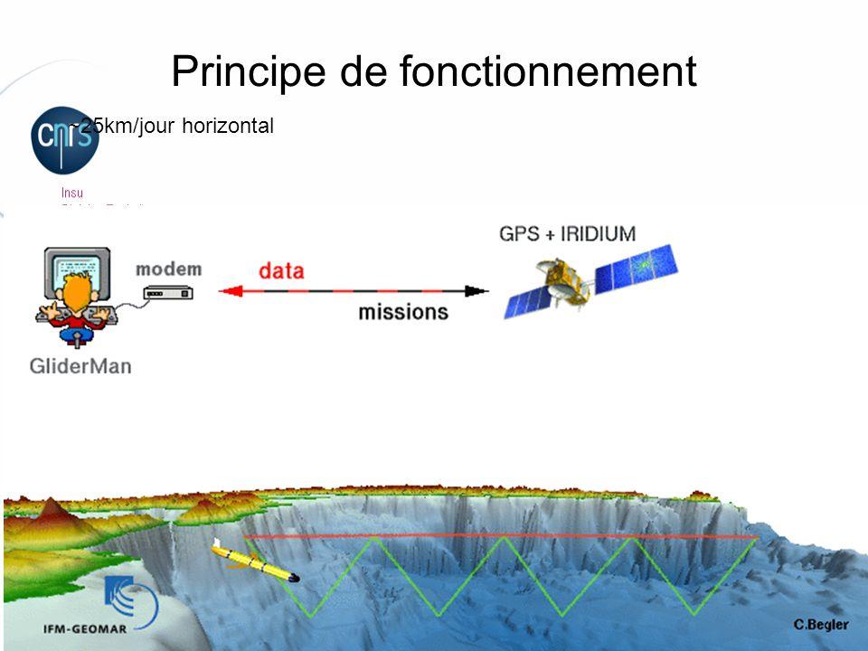 Laurent Beguery   Insu – La Seyne sur mer plongée remontée surface Principe de fonctionnement (pesant) (flottant) Profondeur max ~1000m Système de ballast+ailes