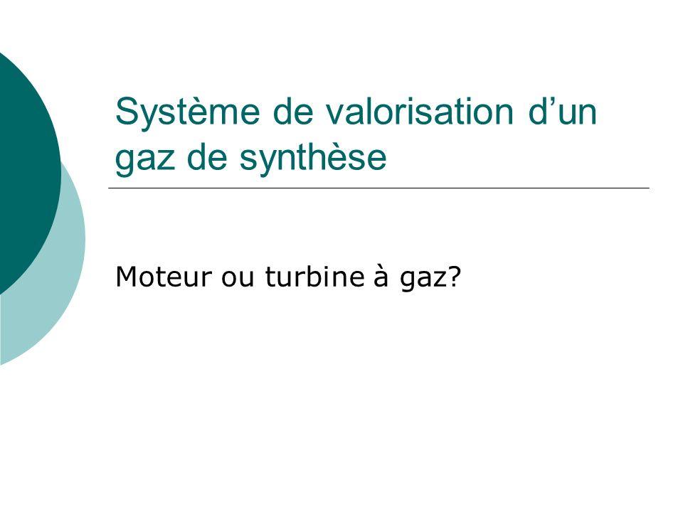 Système de valorisation dun gaz de synthèse Moteur ou turbine à gaz?