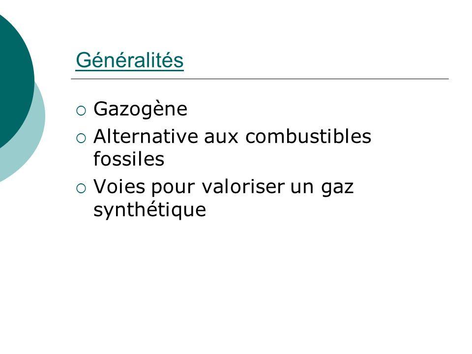 Généralités Gazogène Alternative aux combustibles fossiles Voies pour valoriser un gaz synthétique