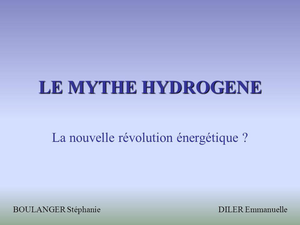 LE MYTHE HYDROGENE La nouvelle révolution énergétique ? BOULANGER Stéphanie DILER Emmanuelle
