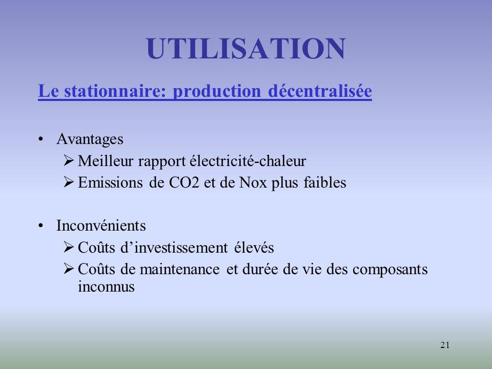 21 UTILISATION Le stationnaire: production décentralisée Avantages Meilleur rapport électricité-chaleur Emissions de CO2 et de Nox plus faibles Inconv