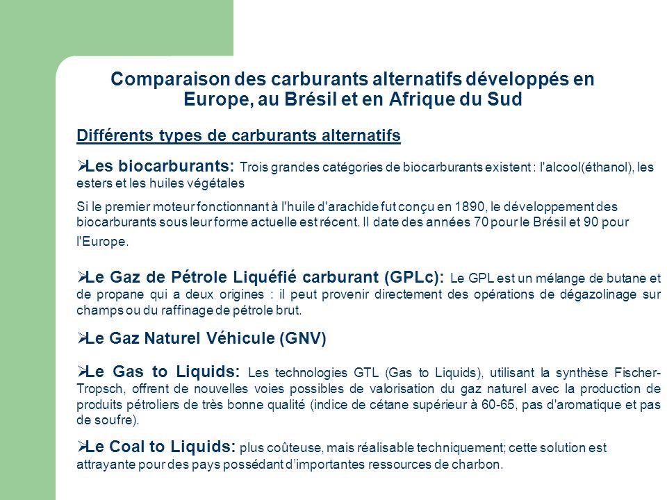 Comparaison des carburants alternatifs développés en Europe, au Brésil et en Afrique du Sud Différents types de carburants alternatifs Les biocarburan