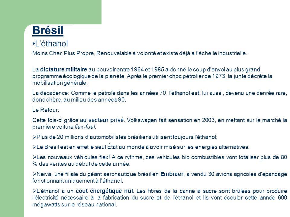 Brésil Léthanol Moins Cher, Plus Propre, Renouvelable à volonté et existe déjà à léchelle industrielle. La dictature militaire au pouvoir entre 1964 e