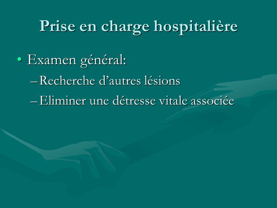 Prise en charge hospitalière Examen général:Examen général: –Recherche dautres lésions –Eliminer une détresse vitale associée