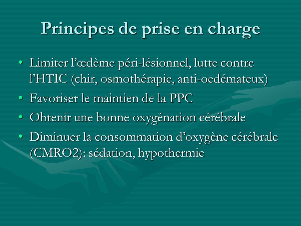 Principes de prise en charge Limiter lœdème péri-lésionnel, lutte contre lHTIC (chir, osmothérapie, anti-oedémateux)Limiter lœdème péri-lésionnel, lut