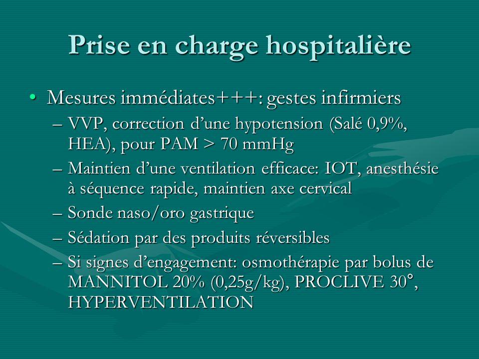 Prise en charge hospitalière Mesures immédiates+++: gestes infirmiersMesures immédiates+++: gestes infirmiers –VVP, correction dune hypotension (Salé