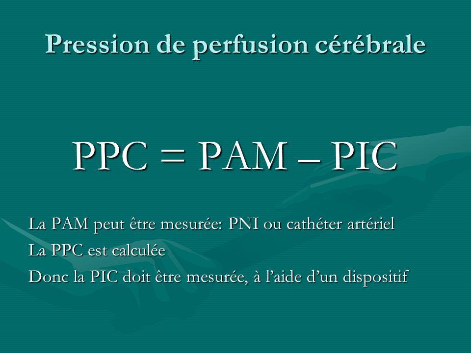 Pression de perfusion cérébrale PPC = PAM – PIC PPC = PAM – PIC La PAM peut être mesurée: PNI ou cathéter artériel La PPC est calculée Donc la PIC doi