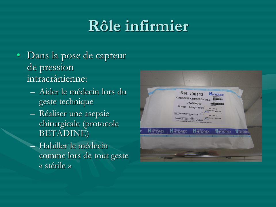Rôle infirmier Dans la pose de capteur de pression intracrânienne:Dans la pose de capteur de pression intracrânienne: –Aider le médecin lors du geste