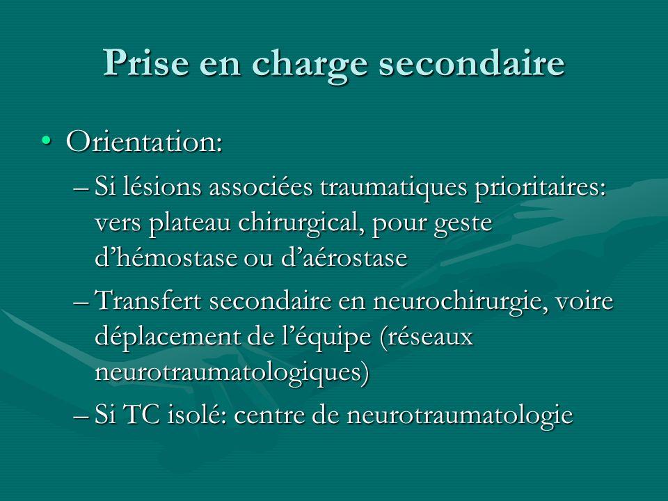 Prise en charge secondaire Orientation:Orientation: –Si lésions associées traumatiques prioritaires: vers plateau chirurgical, pour geste dhémostase o