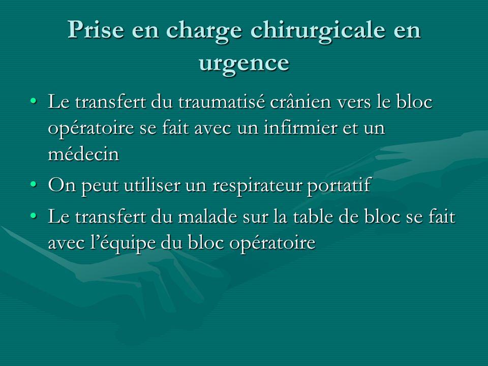 Prise en charge chirurgicale en urgence Le transfert du traumatisé crânien vers le bloc opératoire se fait avec un infirmier et un médecinLe transfert