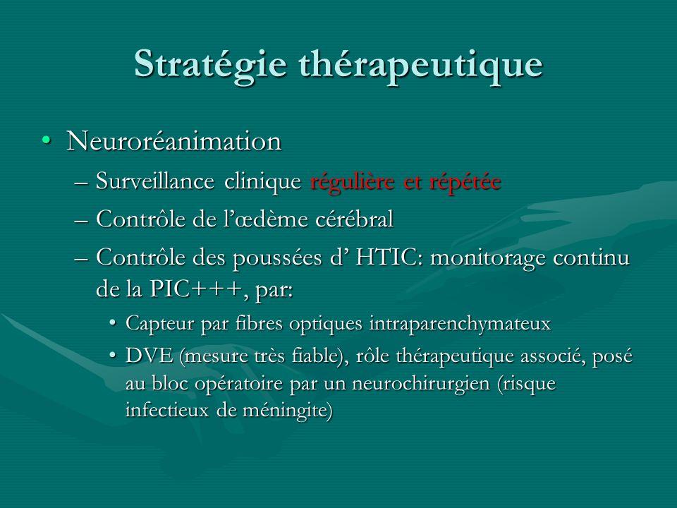 Stratégie thérapeutique NeuroréanimationNeuroréanimation –Surveillance clinique régulière et répétée –Contrôle de lœdème cérébral –Contrôle des poussé