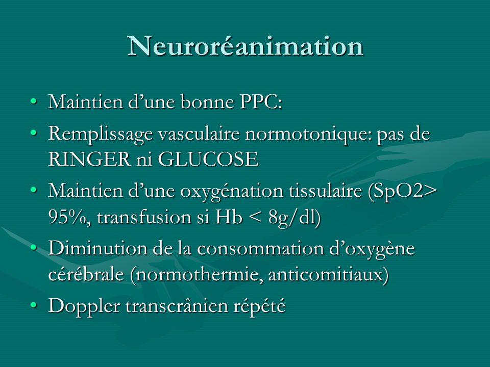 Neuroréanimation Maintien dune bonne PPC:Maintien dune bonne PPC: Remplissage vasculaire normotonique: pas de RINGER ni GLUCOSERemplissage vasculaire