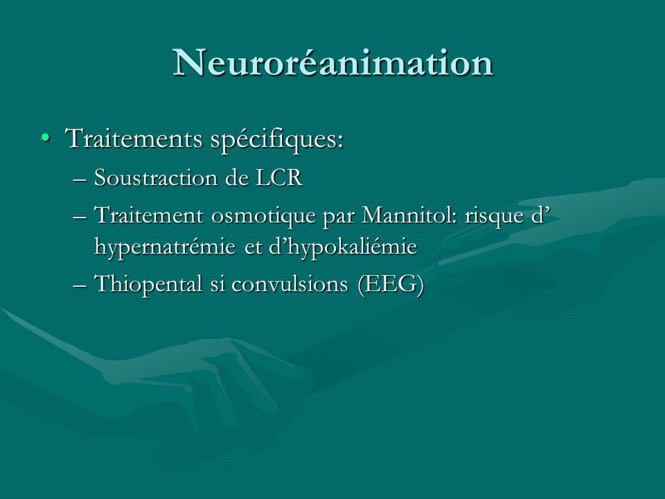 Neuroréanimation Traitements spécifiques:Traitements spécifiques: –Soustraction de LCR –Traitement osmotique par Mannitol: risque d hypernatrémie et d