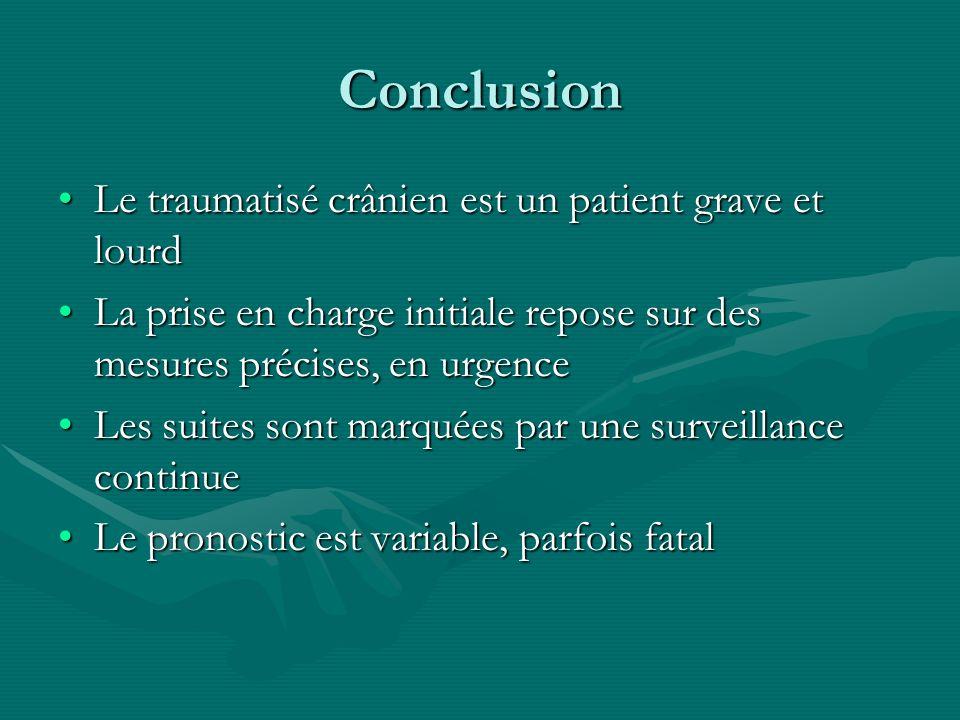 Conclusion Le traumatisé crânien est un patient grave et lourdLe traumatisé crânien est un patient grave et lourd La prise en charge initiale repose s