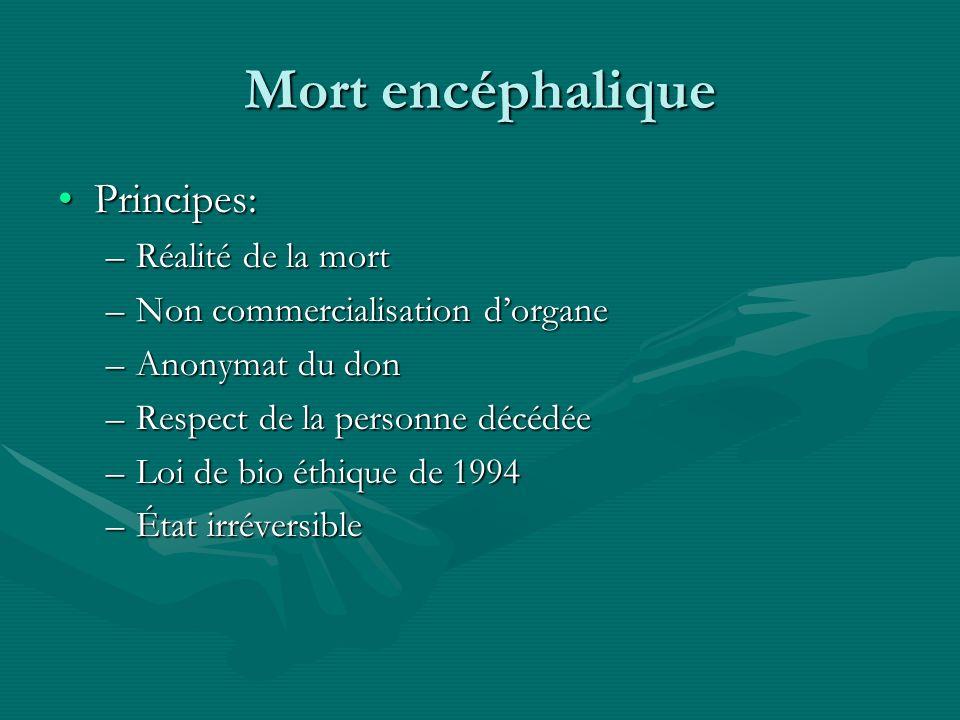 Mort encéphalique Principes:Principes: –Réalité de la mort –Non commercialisation dorgane –Anonymat du don –Respect de la personne décédée –Loi de bio