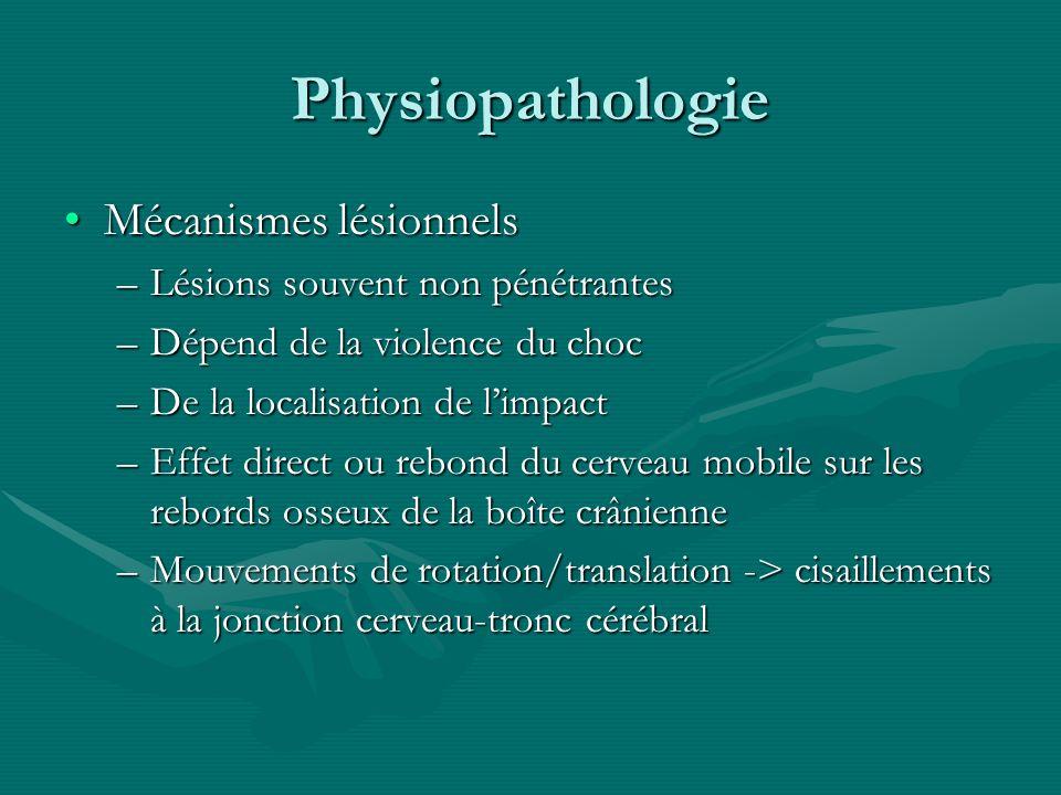 Physiopathologie Mécanismes lésionnelsMécanismes lésionnels –Lésions souvent non pénétrantes –Dépend de la violence du choc –De la localisation de lim