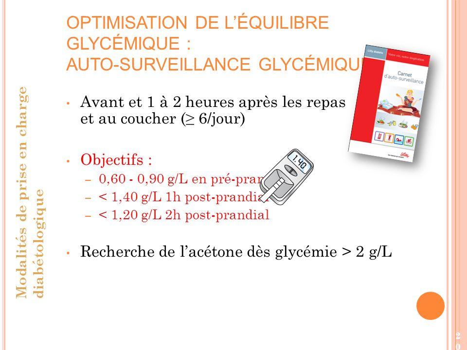 20 Avant et 1 à 2 heures après les repas et au coucher ( 6/jour) Objectifs : – 0,60 - 0,90 g/L en pré-prandial – < 1,40 g/L 1h post-prandial – < 1,20 g/L 2h post-prandial Recherche de lacétone dès glycémie > 2 g/L OPTIMISATION DE LÉQUILIBRE GLYCÉMIQUE : AUTO-SURVEILLANCE GLYCÉMIQUE Modalités de prise en charge diabétologique