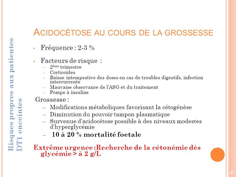 2.I NFLUENCE DU DIABÈTE SUR LES COMPLICATIONS EMBRYONNAIRES ET FŒTALES Risques propres aux patientes DT1 enceintes 7