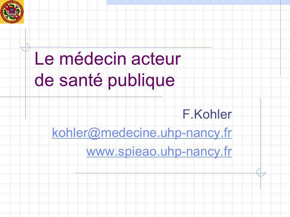 Le médecin acteur de santé publique F.Kohler kohler@medecine.uhp-nancy.fr www.spieao.uhp-nancy.fr