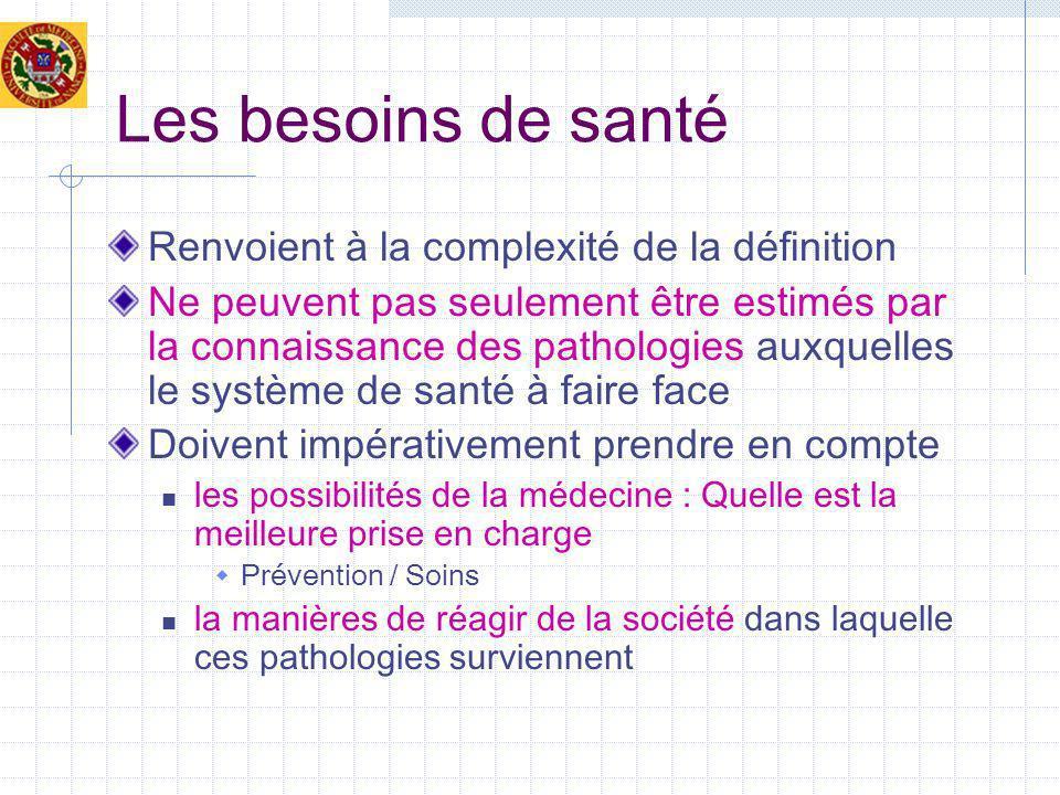 Les besoins de santé Renvoient à la complexité de la définition Ne peuvent pas seulement être estimés par la connaissance des pathologies auxquelles l