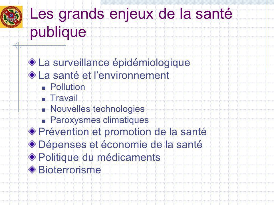 Les grands enjeux de la santé publique La surveillance épidémiologique La santé et lenvironnement Pollution Travail Nouvelles technologies Paroxysmes