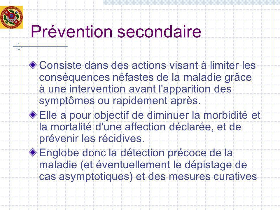 Prévention secondaire Consiste dans des actions visant à limiter les conséquences néfastes de la maladie grâce à une intervention avant l apparition des symptômes ou rapidement après.
