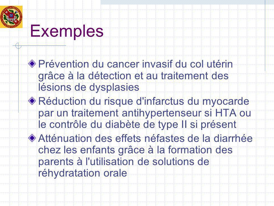 Exemples Prévention du cancer invasif du col utérin grâce à la détection et au traitement des lésions de dysplasies Réduction du risque d'infarctus du