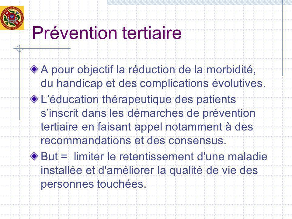 Prévention tertiaire A pour objectif la réduction de la morbidité, du handicap et des complications évolutives. Léducation thérapeutique des patients
