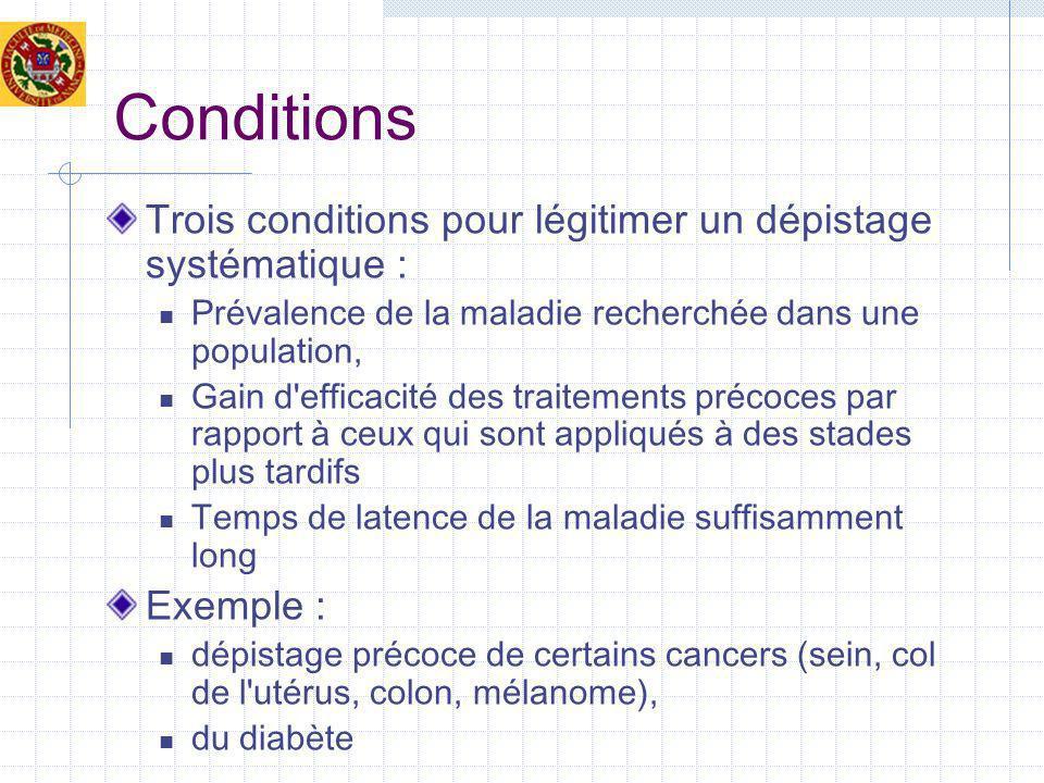 Conditions Trois conditions pour légitimer un dépistage systématique : Prévalence de la maladie recherchée dans une population, Gain d efficacité des traitements précoces par rapport à ceux qui sont appliqués à des stades plus tardifs Temps de latence de la maladie suffisamment long Exemple : dépistage précoce de certains cancers (sein, col de l utérus, colon, mélanome), du diabète