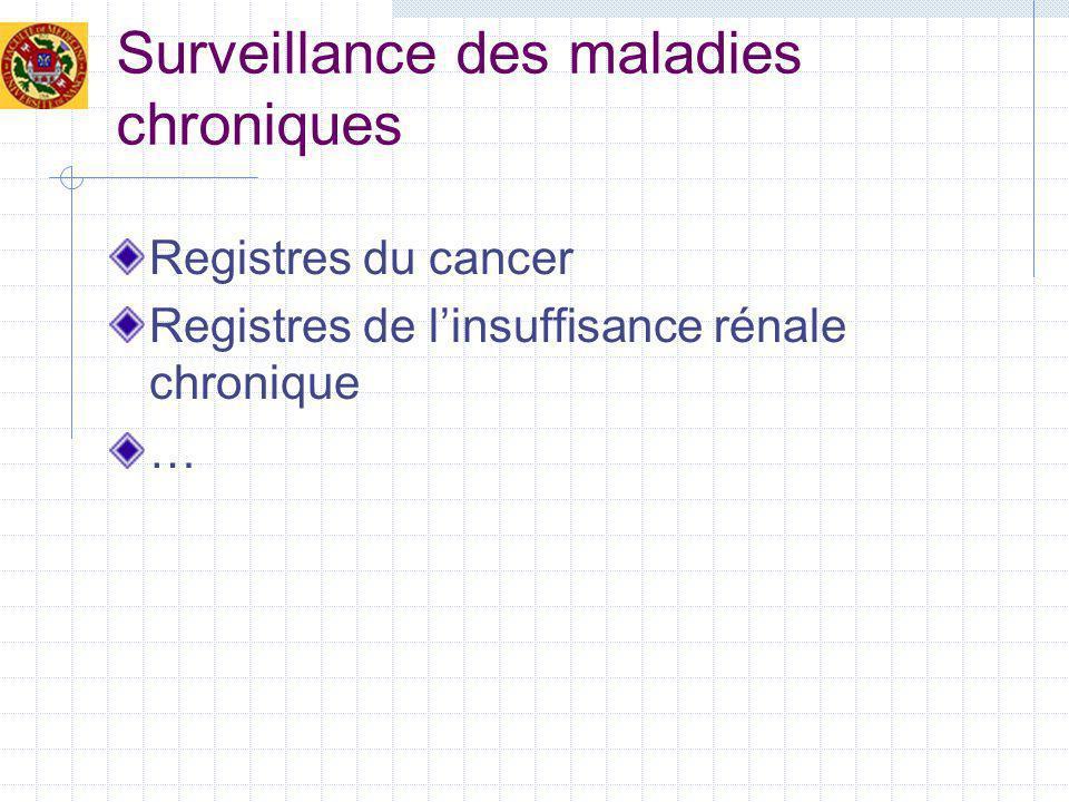 Surveillance des maladies chroniques Registres du cancer Registres de linsuffisance rénale chronique …