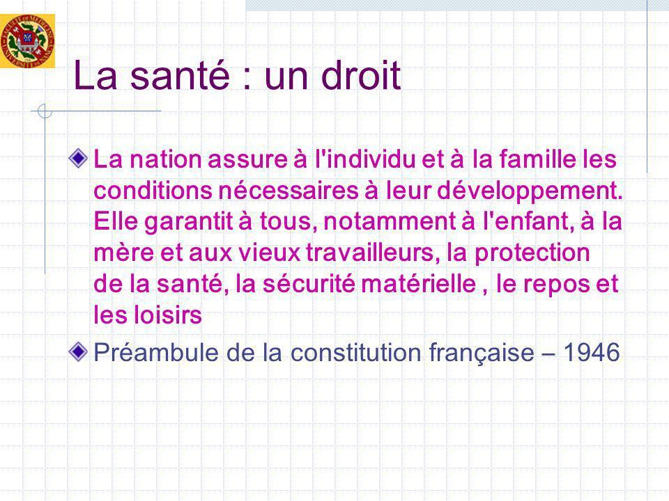 La santé : un droit La nation assure à l'individu et à la famille les conditions nécessaires à leur développement. Elle garantit à tous, notamment à l
