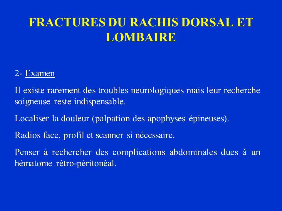 FRACTURES DU RACHIS DORSAL ET LOMBAIRE 2- Examen Il existe rarement des troubles neurologiques mais leur recherche soigneuse reste indispensable. Loca