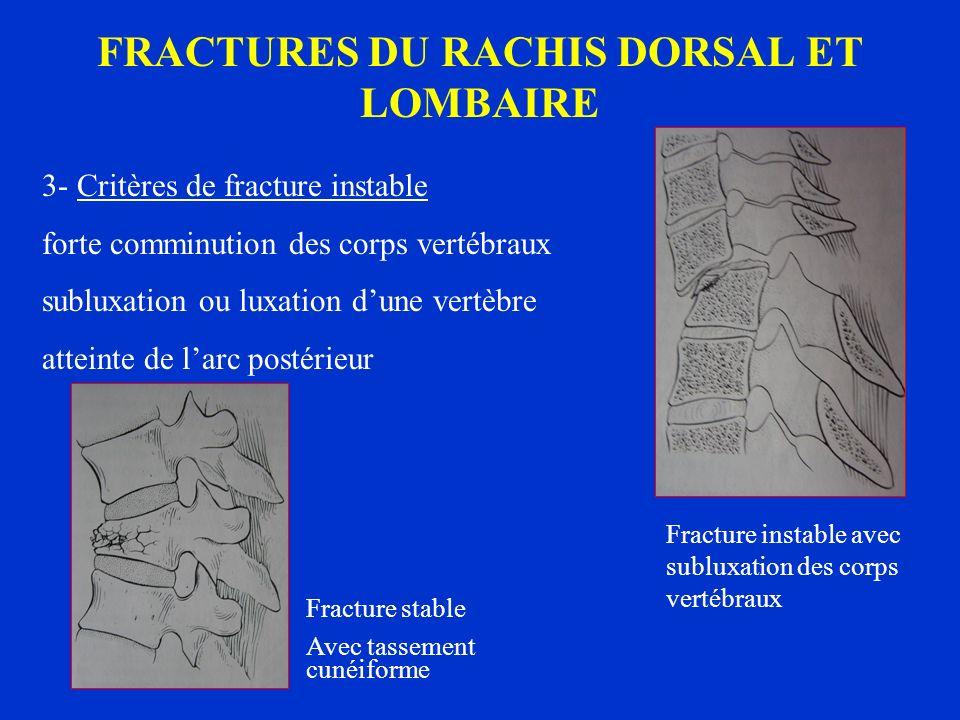 FRACTURES DU RACHIS DORSAL ET LOMBAIRE 3- Critères de fracture instable forte comminution des corps vertébraux subluxation ou luxation dune vertèbre a