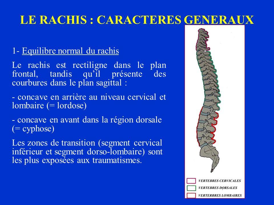 LE RACHIS : CARACTERES GENERAUX 1- Equilibre normal du rachis Le rachis est rectiligne dans le plan frontal, tandis quil présente des courbures dans l