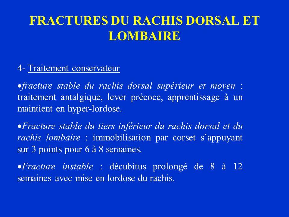 FRACTURES DU RACHIS DORSAL ET LOMBAIRE 4- Traitement conservateur fracture stable du rachis dorsal supérieur et moyen : traitement antalgique, lever p