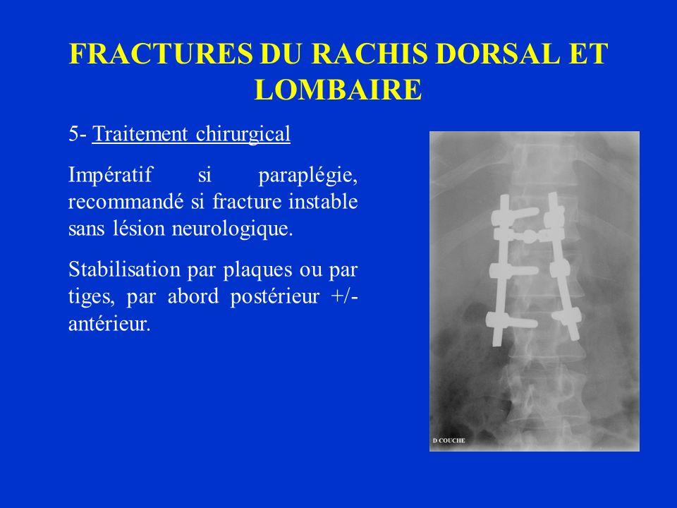 FRACTURES DU RACHIS DORSAL ET LOMBAIRE 5- Traitement chirurgical Impératif si paraplégie, recommandé si fracture instable sans lésion neurologique. St