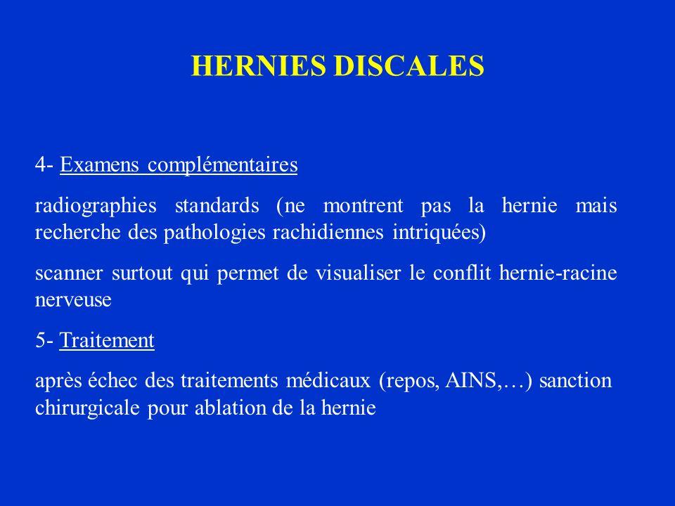 HERNIES DISCALES 4- Examens complémentaires radiographies standards (ne montrent pas la hernie mais recherche des pathologies rachidiennes intriquées)