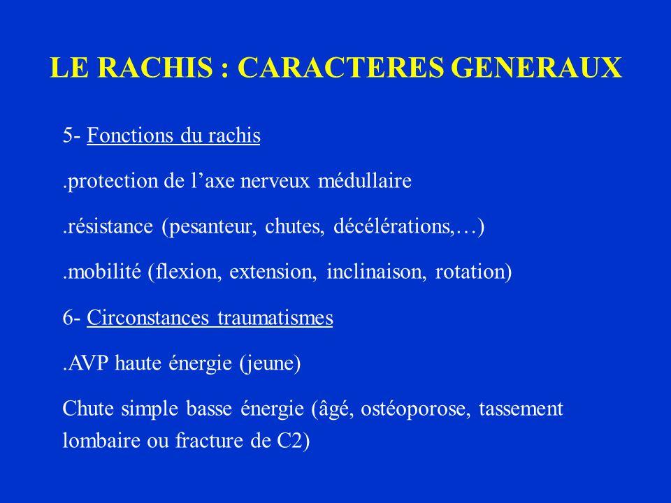 LE RACHIS : CARACTERES GENERAUX 5- Fonctions du rachis.protection de laxe nerveux médullaire.résistance (pesanteur, chutes, décélérations,…).mobilité